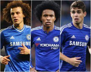 David Luiz, Willian e Oscar (três brasileiros do Chelsea).