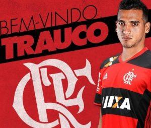 Imagem divulgada pelo Flamengo sobre a contratação de Trauco.
