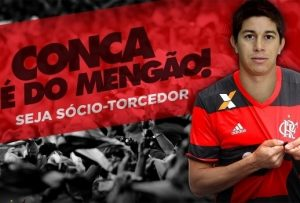 Imagem divulgada pelo Flamengo sobre a contratação de Conca.